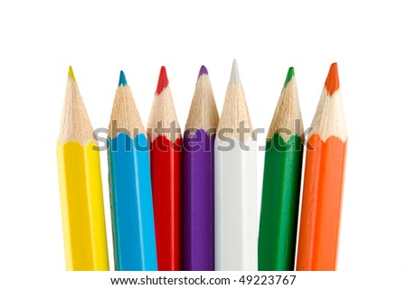 Crayons isolated on a white background