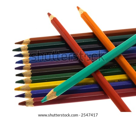 Crayons isolated on white