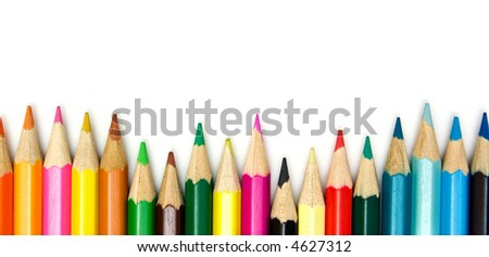 crayons, isolated on white - stock photo
