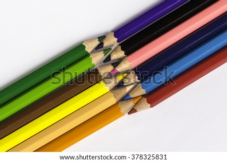 Crayons isolated white background.