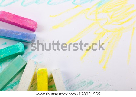 Crayons on a white background