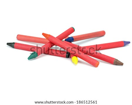 Crayons on a white background - stock photo