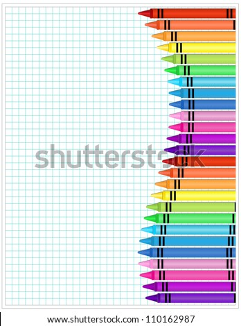 Crayons on Paper - Set of crayons displayed on white graph paper