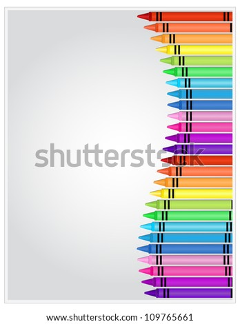 Crayons on Paper - Set of crayons displayed on white highlighted paper - stock photo