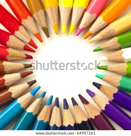 crayons stack circle on a white background - stock photo