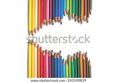Crayons wave - stock photo