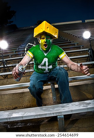Crazed football fan cheers in bleachers - stock photo