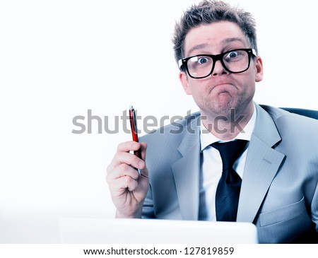 crazy and funny manager stressed at work - stock photo