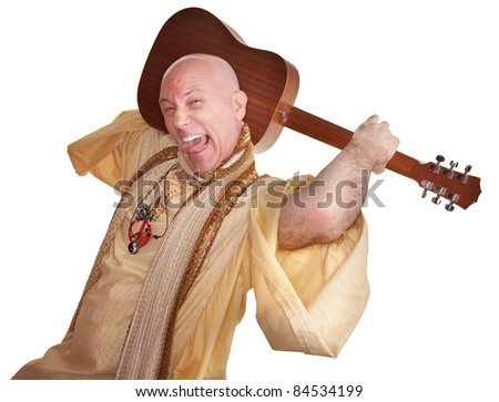 Crazy bald guru holds guitar over white background - stock photo