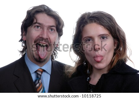crazy businesscouple isolated over white background