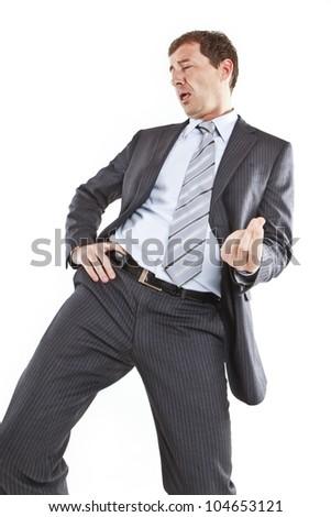 crazy businessman dancing - stock photo