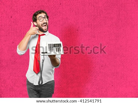 crazy businessman happy expression - stock photo