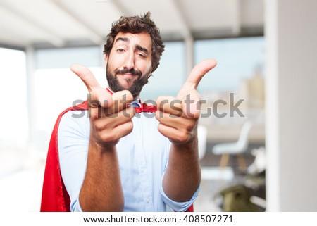 crazy businessman hero happy expression - stock photo