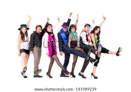 crazy businessmen dancing in office clothing - stock photo