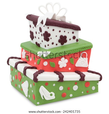 crazy cake decorated with fondant - isolated on white background - stock photo