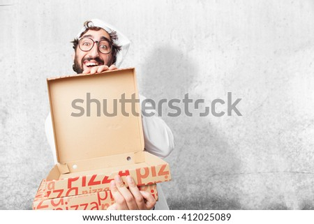 crazy chef surprised expression - stock photo