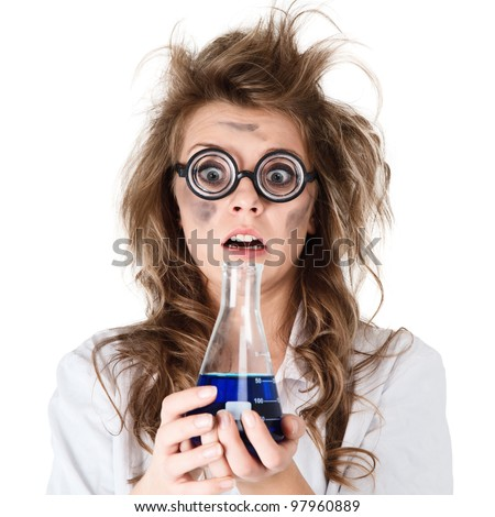 Crazy chemist woman with disheveled hair and vial in hands - stock photo