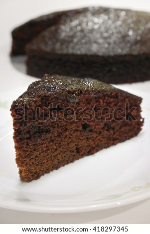 Crazy Chocolate cake without egg, butter, milk - Wacky Cake - close up