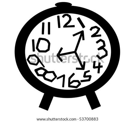 Crazy Clock in Black - stock photo