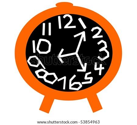 Crazy Clock in Orange and Black - stock photo