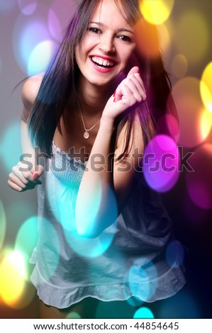 Crazy disco dance - stock photo