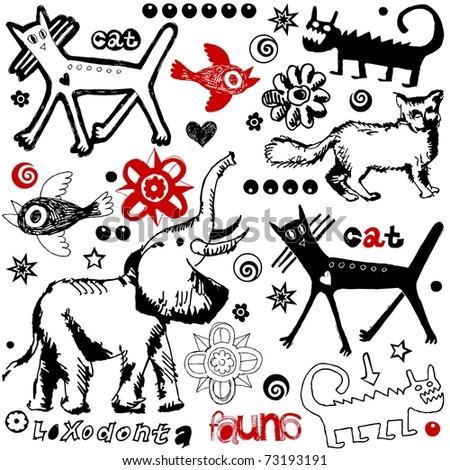 crazy doodle set, hand drawn design elements - stock photo