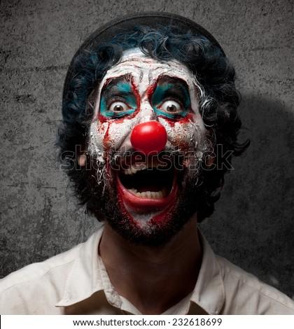 crazy evil clown - stock photo