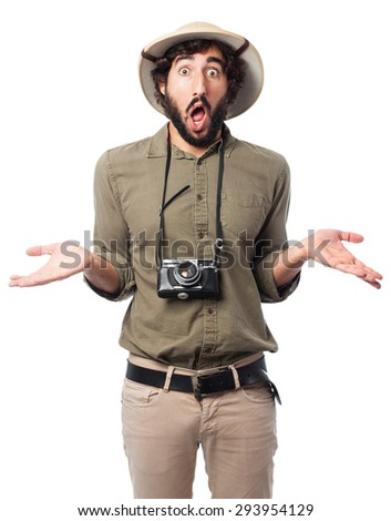 crazy explorer man with doubting sign - stock photo