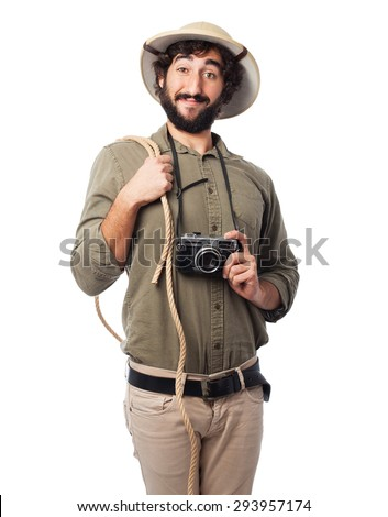 Explorer With Binoculars Eating Banana Stock Photo - Image of ...