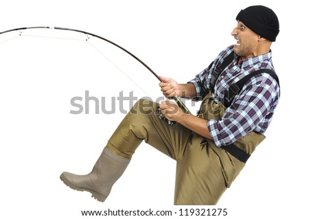 Crazy faced fisherman with fishing rod - stock photo