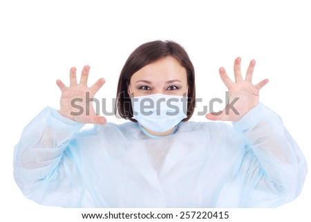 crazy female doctor catching a patient - stock photo