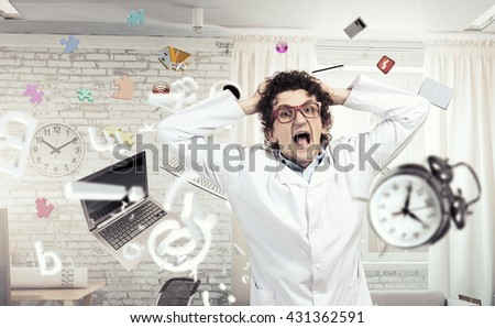Crazy funny doctor - stock photo