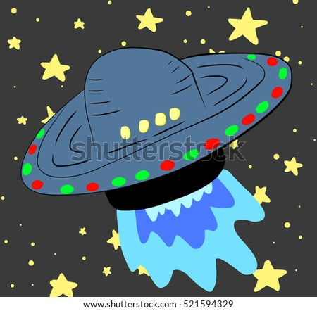 Crazy funny space ship illustration in space. Original hand draw illustration and background sure to delight kids of all ages.