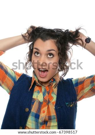 crazy girl - stock photo
