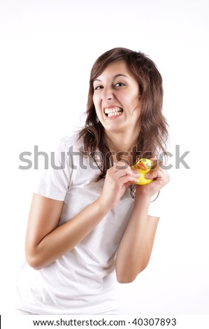 Crazy Girl With A Water Duck Toy Having A Creepy Smile - stock photo