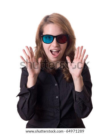 Crazy girl with 3D glasses is shocked by 3D effect - stock photo