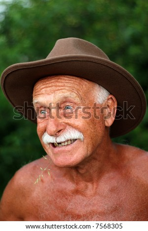 crazy grandpa - stock photo