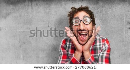crazy happy man - stock photo