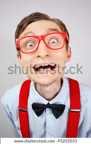 Crazy happy nerd - stock photo