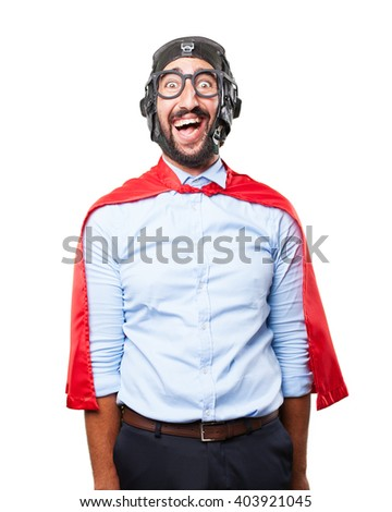 crazy hero funny expression - stock photo
