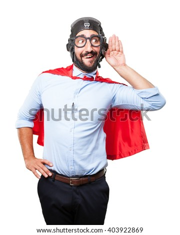crazy hero worried expression - stock photo