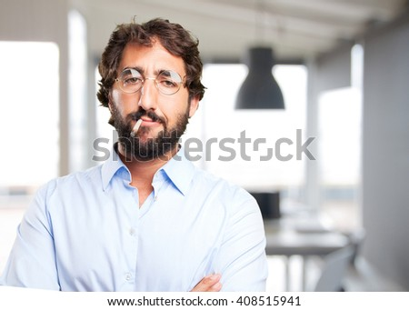 crazy hippie angry expression - stock photo
