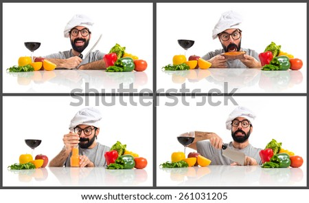 Crazy hipster chef  - stock photo
