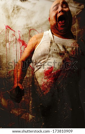 Crazy insane butcher covered with blood.  Heavily filtered photo merged with old paper backgrounds..  - stock photo