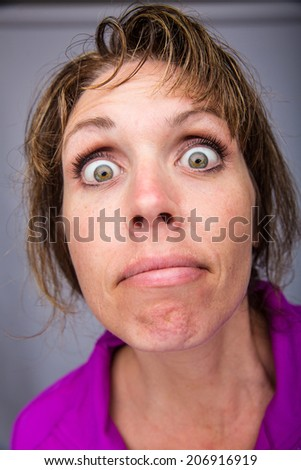 crazy lady - stock photo
