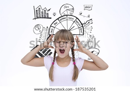 Crazy little girl against data analysis doodle - stock photo