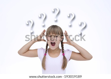 Crazy little girl against question marks - stock photo