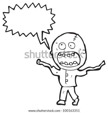 crazy madman cartoon - stock photo