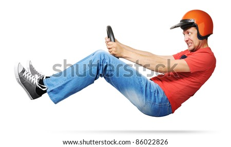 Crazy man car driver with steering wheel and a helmet on white background, racing concept - stock photo
