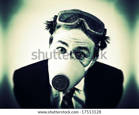 Crazy man in protective mask and neck tie. High contrast colors. - stock photo
